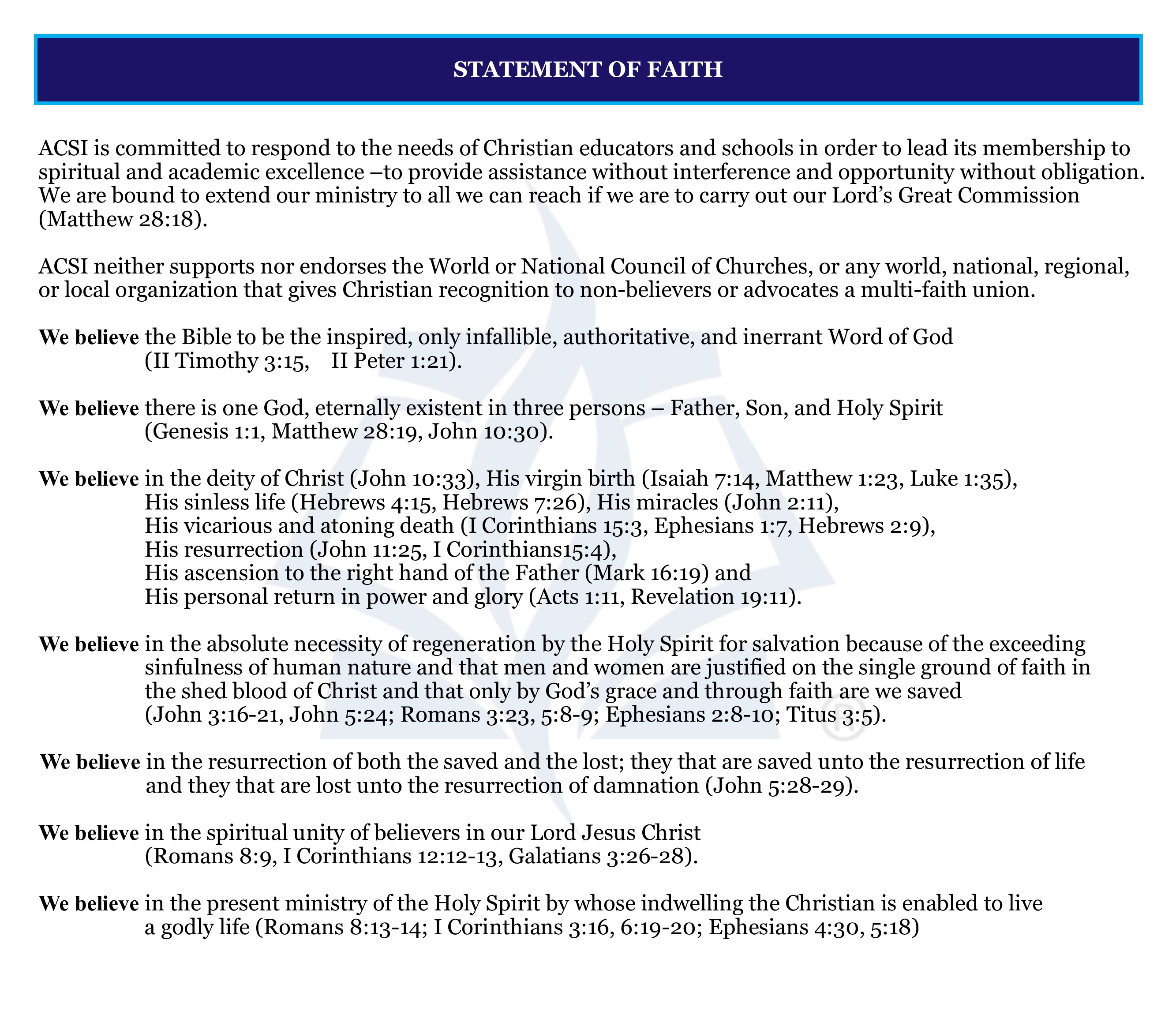 Website page- About. History Beliefs. Statement of Faith